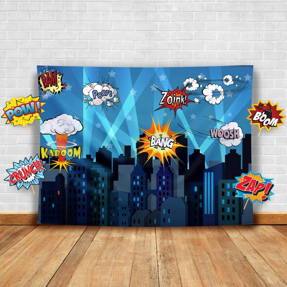 Superhero Cityscape Photography Backdrop and Studio Props DIY Kit. Great as Super Hero City Photo Booth Background - Birthday Party and Event Decorations by Glittery Garden