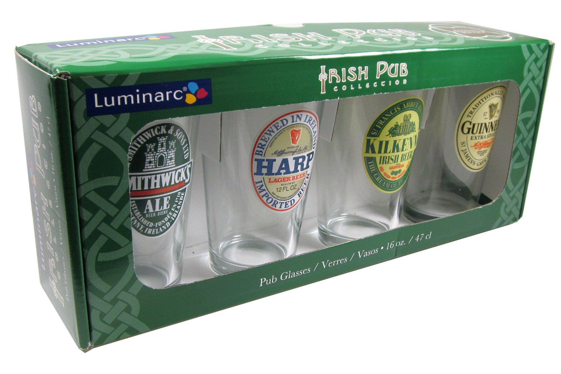ARC International Luminarc Irish Beer Label Pub Beer Glass, 16oz , Set of 4 by Arc International (Image #2)