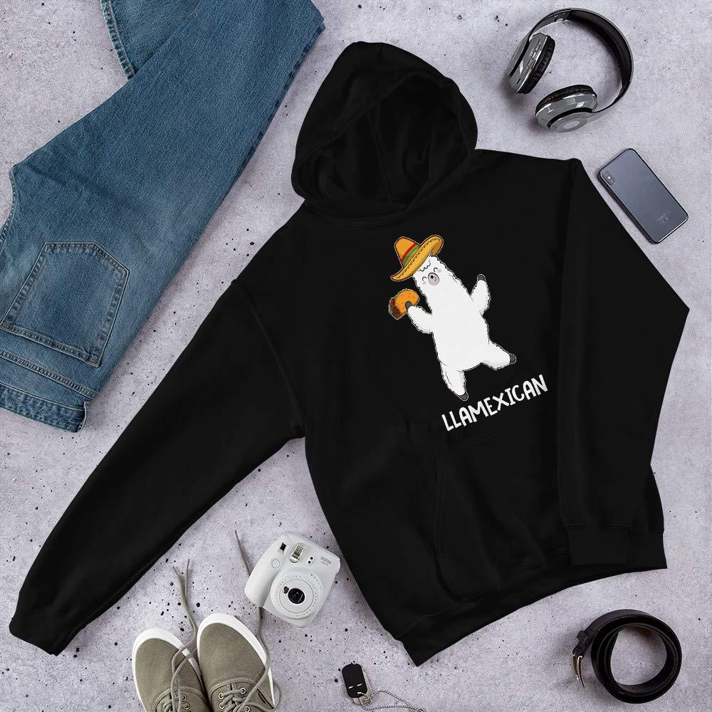 TEEPOMY Funny Taco Llama Llamaxican Hooded Sweatshirt