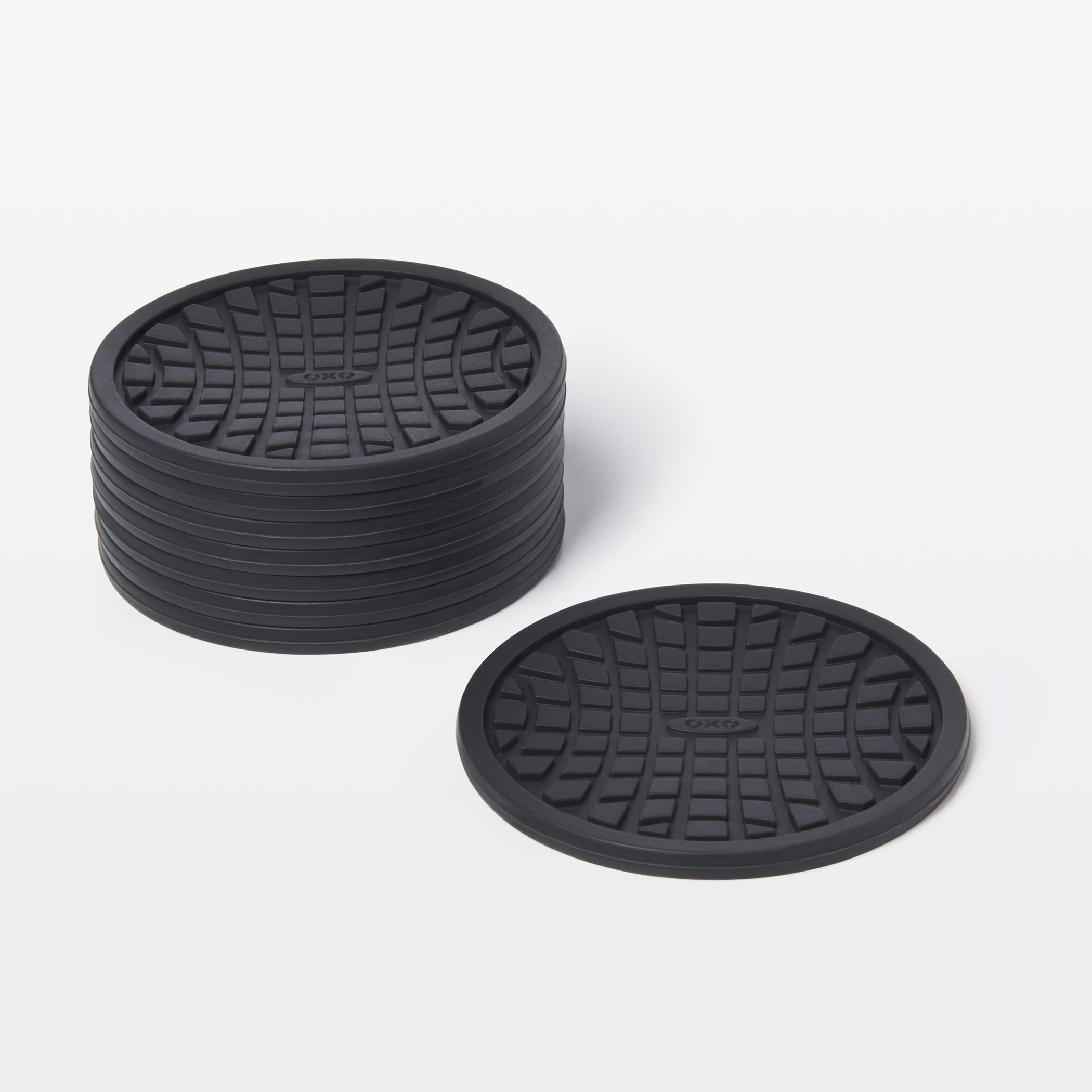 New OXO Good Grips Silicone Coasters 8 Pack Black