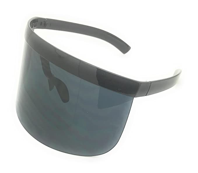 4513c2029e MyUV Oversized Futuristic Shield Visor Sunglasses Flat Top Mirrored Mono  Lens (Black