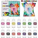 Anpro 160 PCS Tie Dye Kit,14 Colores Tintes Textiles Brillantes Tie Dye,100 ML * 14 Botella, Adecuado para Arte de…