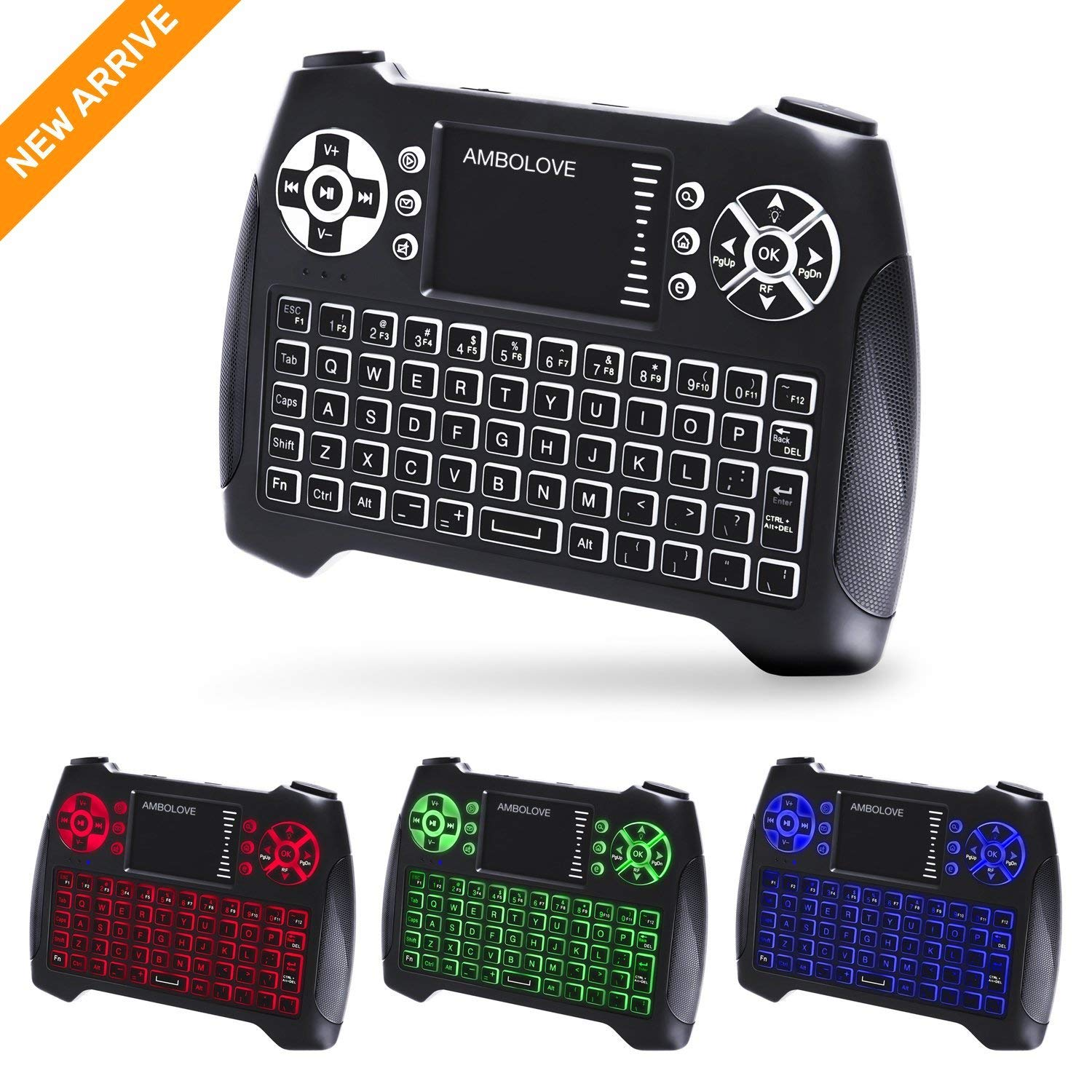 (Updated 2018, 3-Color RGB) Backlit Wireless Mini Keyboard with Touchpad Mouse and Multimedia Keys, 2.4Ghz USB Rechargable Handheld Remote Control Keyboard for PC, HTPC, X-BOX, Android TV Box,Smart TV by AMBOLOVE