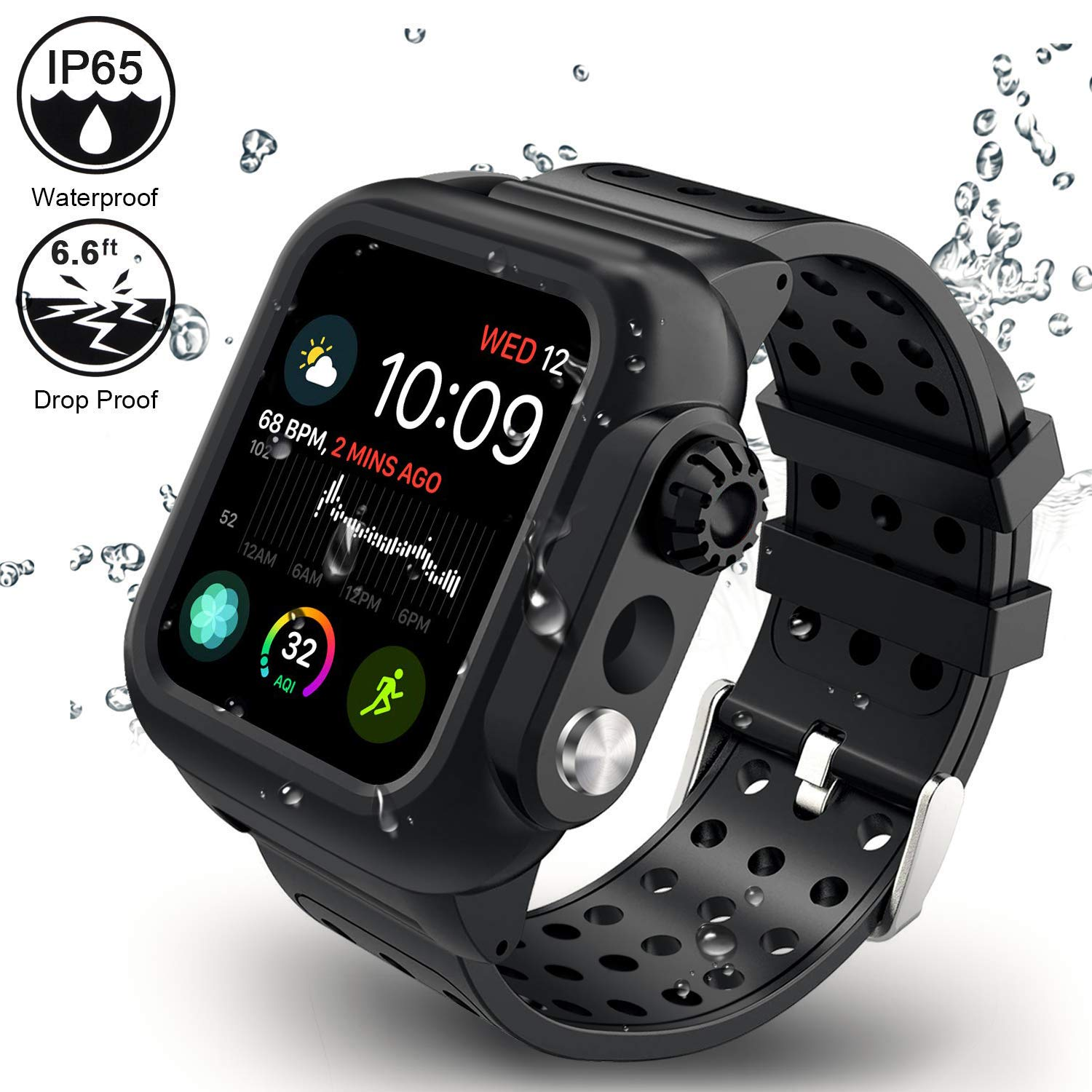 Twinkk Waterproof Case Compatible for Apple Watch Series 4 40mm with Built-in Screen Protector and Silicone Watch Band-Black