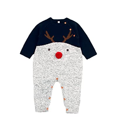 Angekids Baby Winter Sweater Christmas Theme Deer Pattern Two Colors Infant Romper