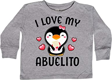 inktastic I Love My Abuelo with Cute Penguin and Hearts Toddler T-Shirt