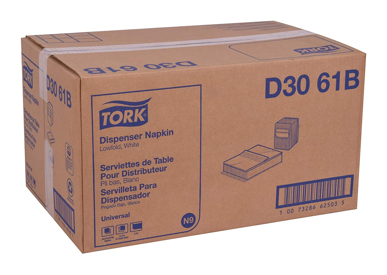 Amazon.com: Tork Universal D3061B Lowfold Dispenser Napkin, Overall Embossed, 1-Ply, 12