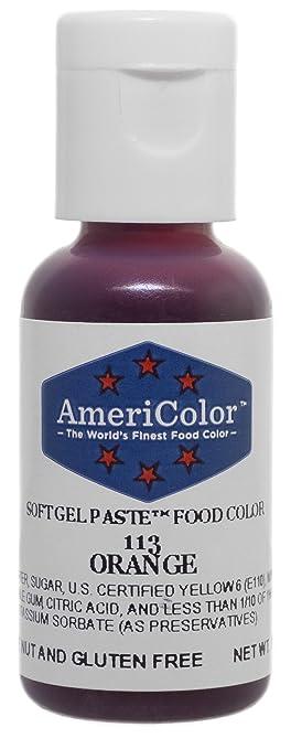 Amazon.com: Americolor Soft Gel Paste Food Coloring, Orange, .75 ...