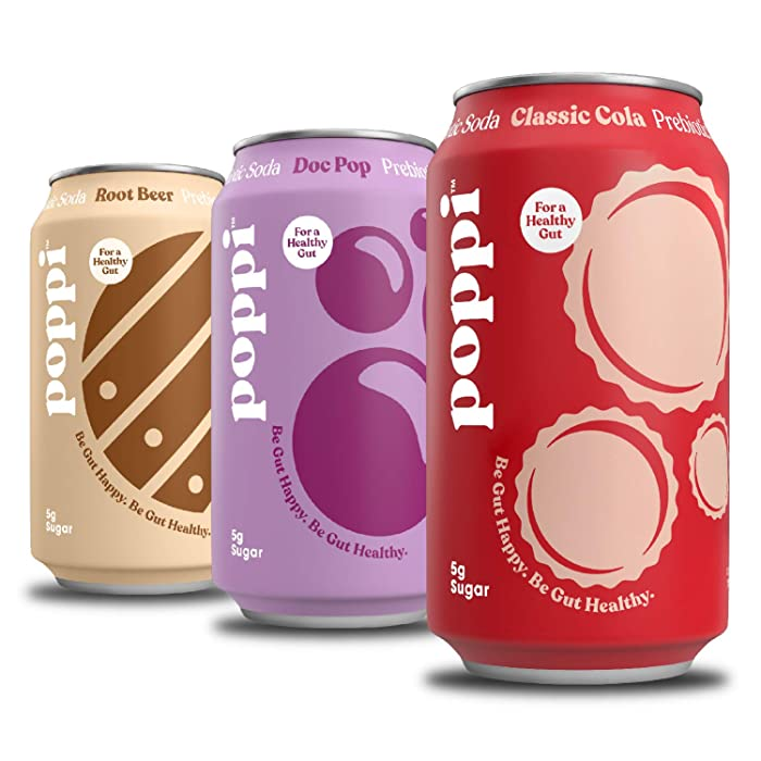 poppi A Healthy Sparkling Prebiotic Soda, Gut Health & Immunity Benefits, 12pk 12oz Cans, Classics Variety Pack (Classic Cola| Doc Pop| Root Beer)