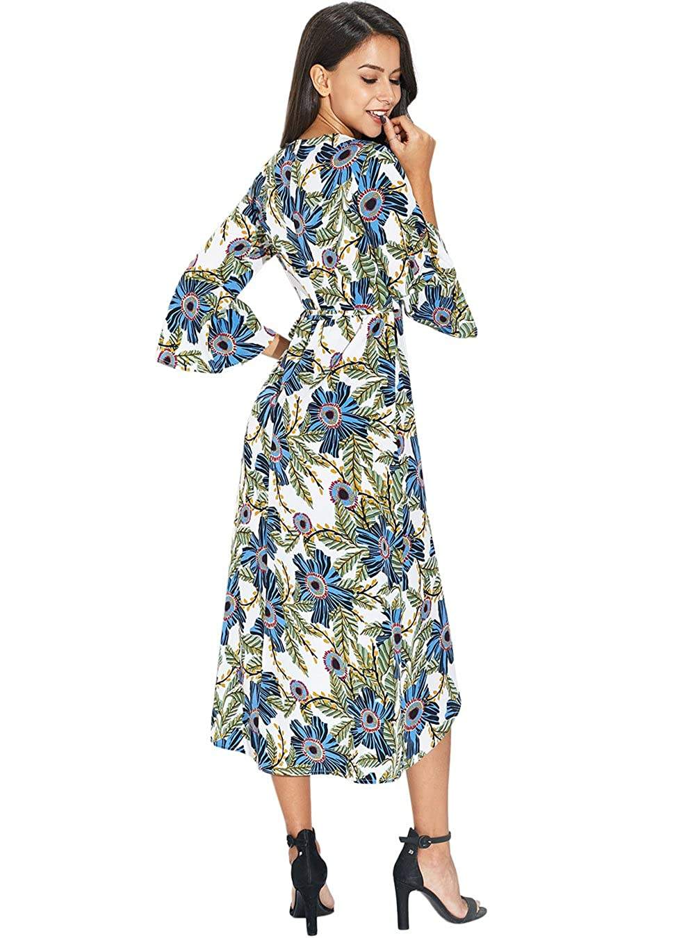 fc2b76912100 PYL Women's Flare Sleeve V Neck Floral Wrap Midi Dress at Amazon Women's  Clothing store: