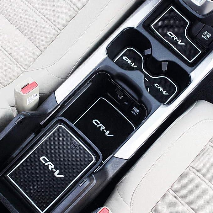 Custom Fit Cup Door Console Liner Accessories for 2019 2018 2017 Honda CR-V CRV Dark Blue Trim