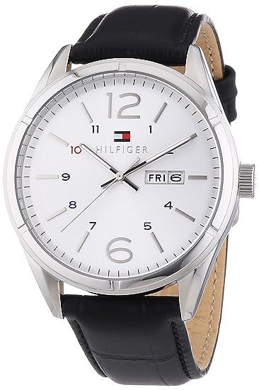Tommy Hilfiger Watches CHARLIE - Reloj Analógico de Cuarzo para Hombre, correa de Cuero color Negro: Amazon.es: Relojes