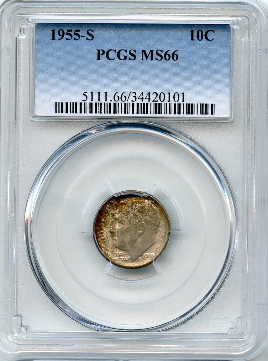 1955 S Roosevelt Dime graded MS 66 by NGC!