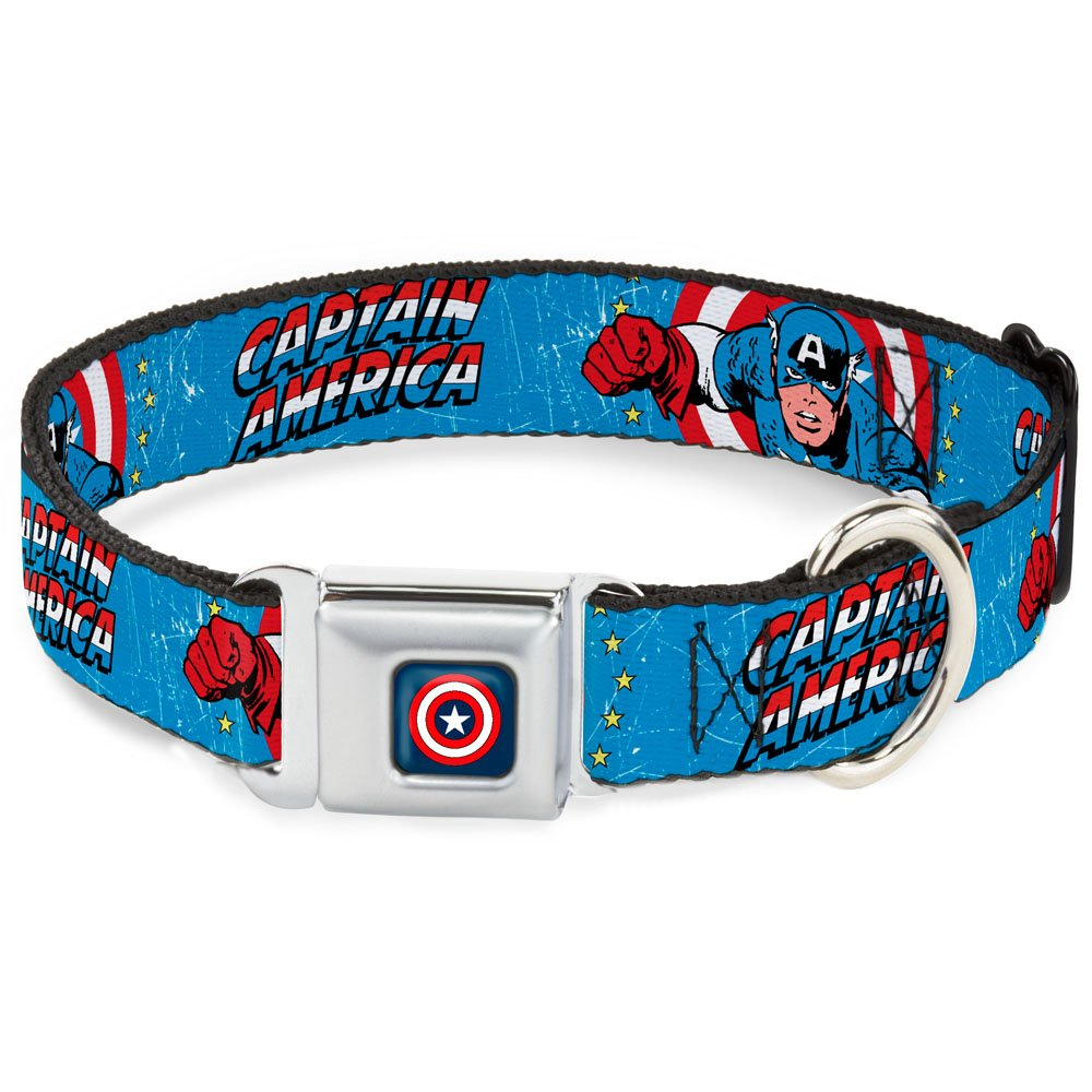 Buckle-Down Seatbelt Buckle Dog Collar Captain America w Action Pose Weathered bluee 1  Wide Fits 9-15  Neck Small