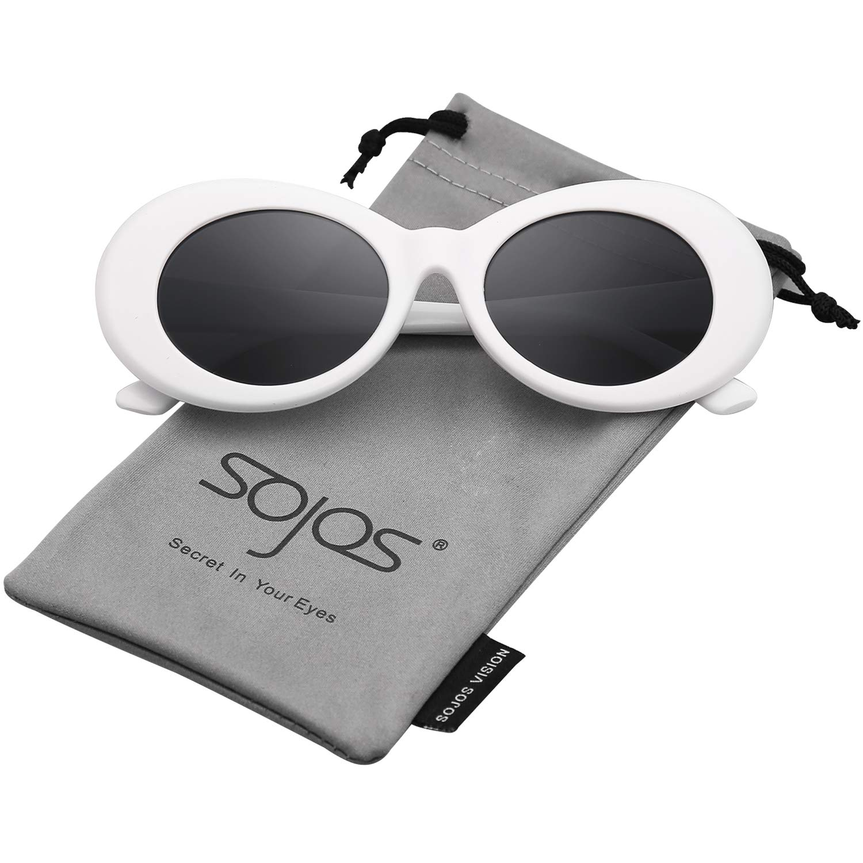 SojoS Oval Mod Style Thick Frame Sunglasses Retro Kurt Cobain Inspired SJ2039 SJ2039C1