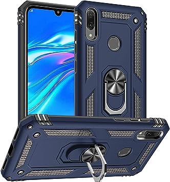 PEGOO Coque Huawei Y7 2019,Antichoc Armure Protection Housse Etui avec Support Cover Case pour Huawei Y7 2019 (Bleu foncé)