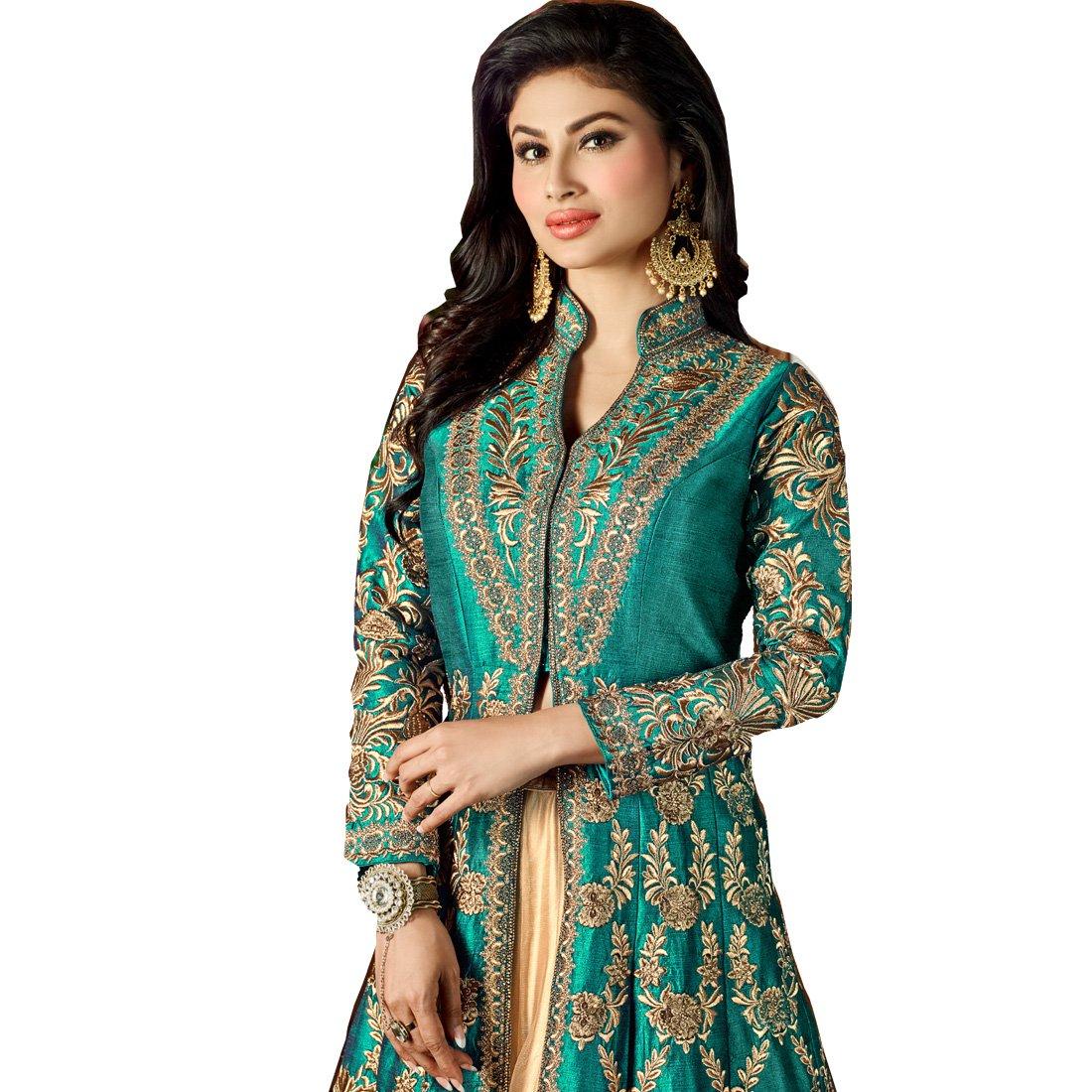 196d564918b Vasu Saree Women s Heavy Tapeta Silk Semi-Stitched Anarkali Suit  (Shashi6-12047 Teal Xx-Large)  Amazon.in  Clothing   Accessories