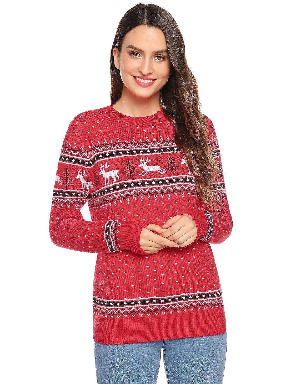 Akalnny Weihnachtspullover Familie Set Pulli Pullover Damen Reindeer Strickpullover Christmas Rundhals Sweater Winter Damen Herren Kinder