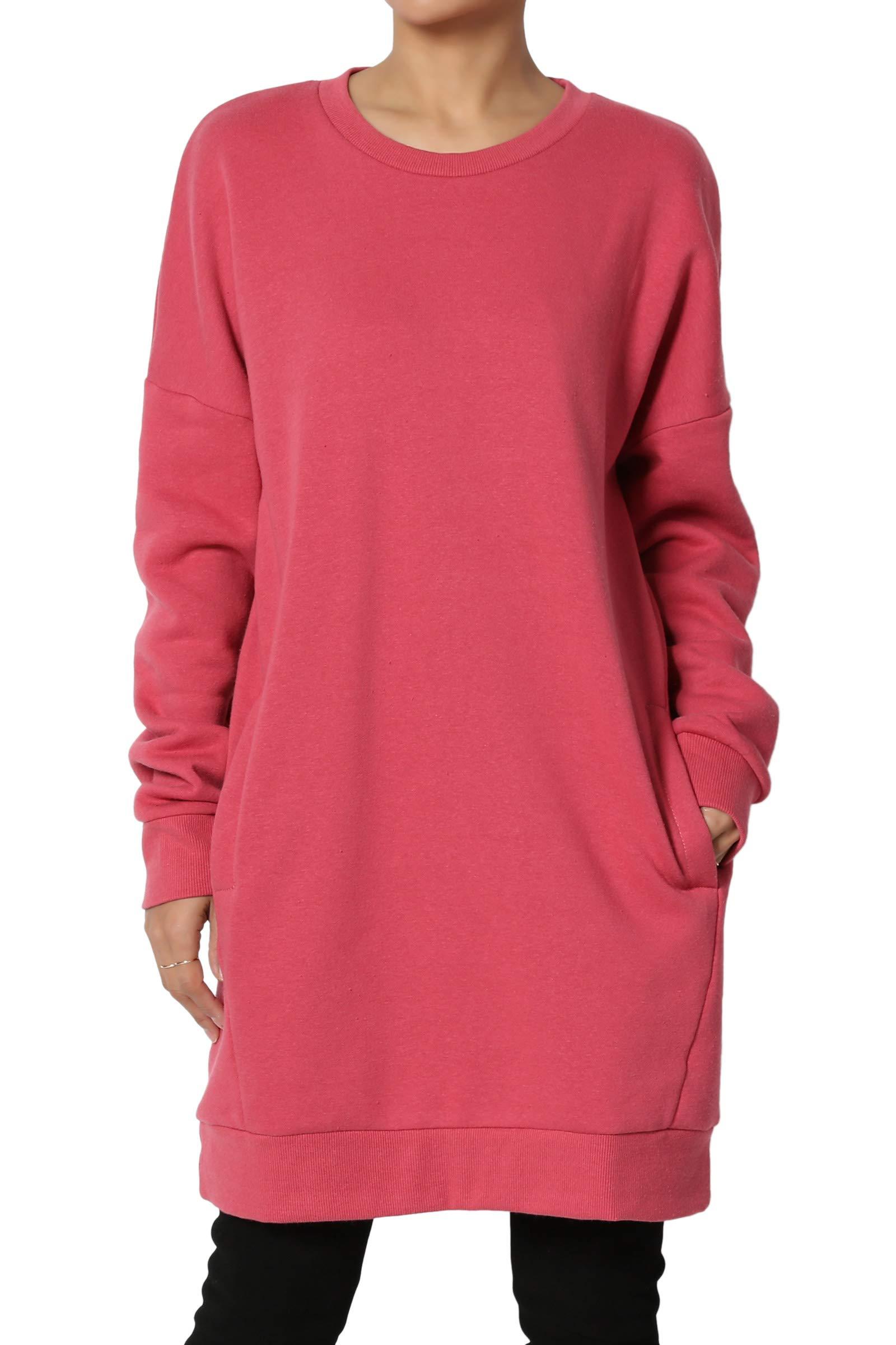 TheMogan Women's Casual Crew Neck Pocket Loose Sweatshirt Tunic Rose 1XL