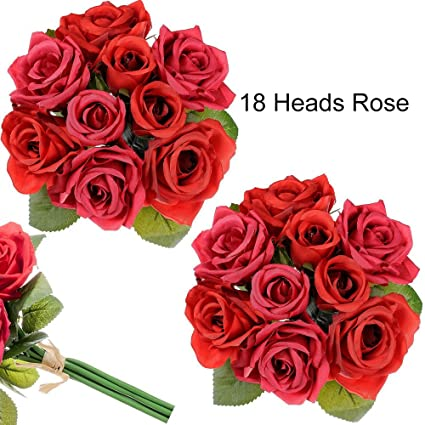 Amazon supla 2 bouquets open rose buds silk flower wedding supla 2 bouquets open rose buds silk flower wedding bouquet in red 106quot tall x mightylinksfo