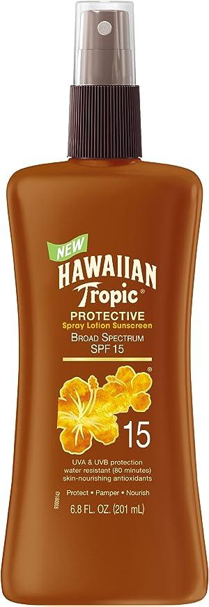 Hawaiian Tropic Sunscreen Protective Tanning Broad Spectrum Sun Care Sunscreen Spray Lotion - SPF 15, 6.8 Ounce