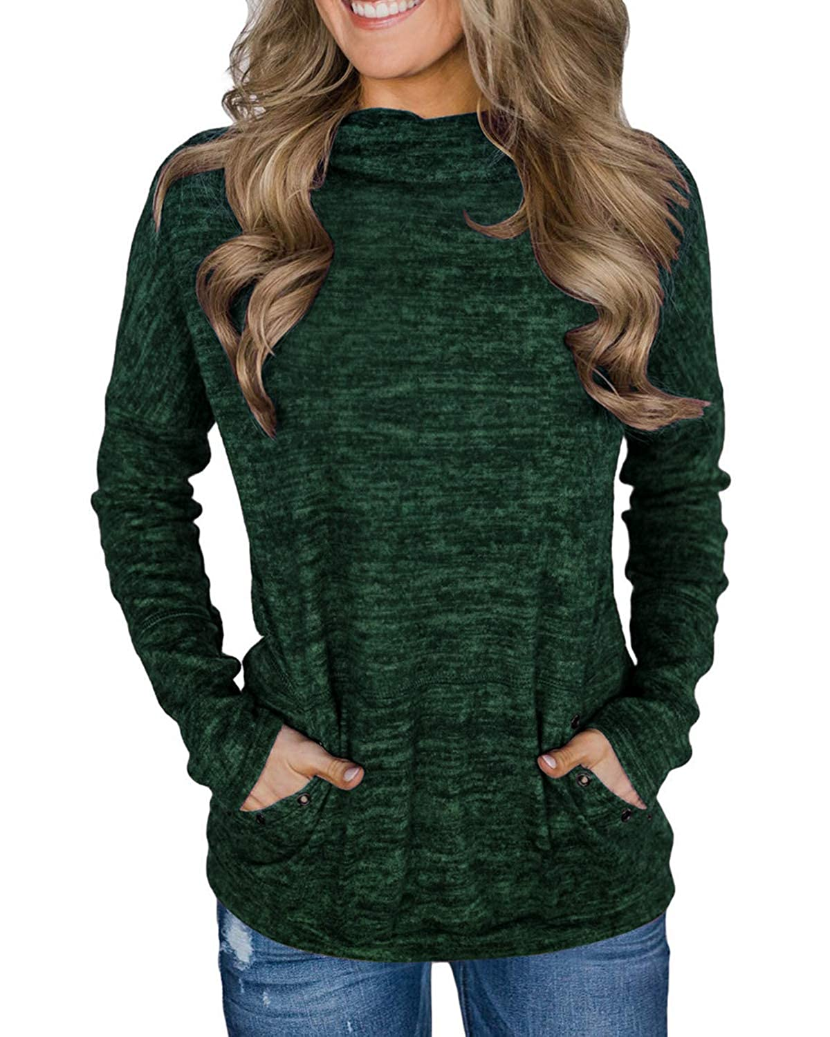 AELSON Women Casual Long Sleeve Fall /& Winter Tops Blouses Turtle Neck Cute Sweatshirt with Pocket