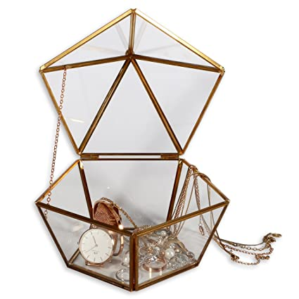 WANYA Decorative Pentagon Glass Box for Plant Jewelry Display with Hinged  Top Lid