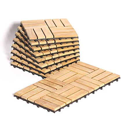 Le Click Teak Interlocking Flooring Tiles Windmill Pattern