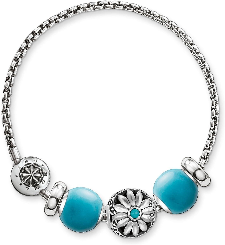 Thomas Sabo - Pulsera de Mujer, Plata de Ley 925 con Piedra Onix, Azul turquesa, 19 cm