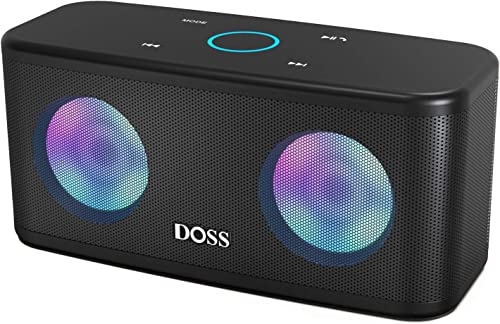Bluetooth Speakers, DOSS SoundBox Plus Portable Wireless Bluetooth Speaker with HD Sound and Deep Bass, Wireless Stereo Pairing, 20H Playtime, Wireless Speaker for Phone, Tablet, TV, and More.-Black