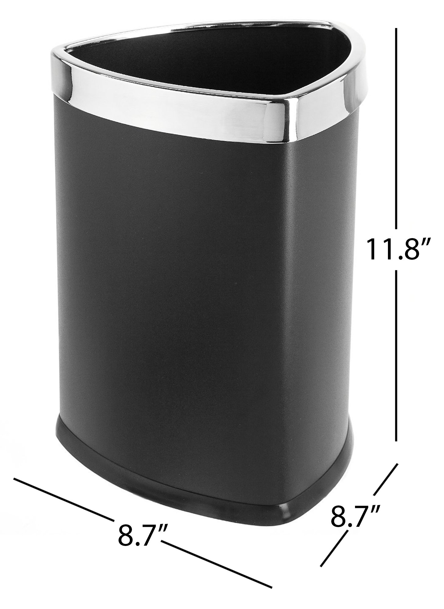 Bennett Magnificent Designed ''Triangle Shape'' Wastebasket, Small Office Open Top Metal Trash Can, (Black)