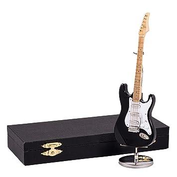 Negro guitarra eléctrica instrumento de música réplica en miniatura ...