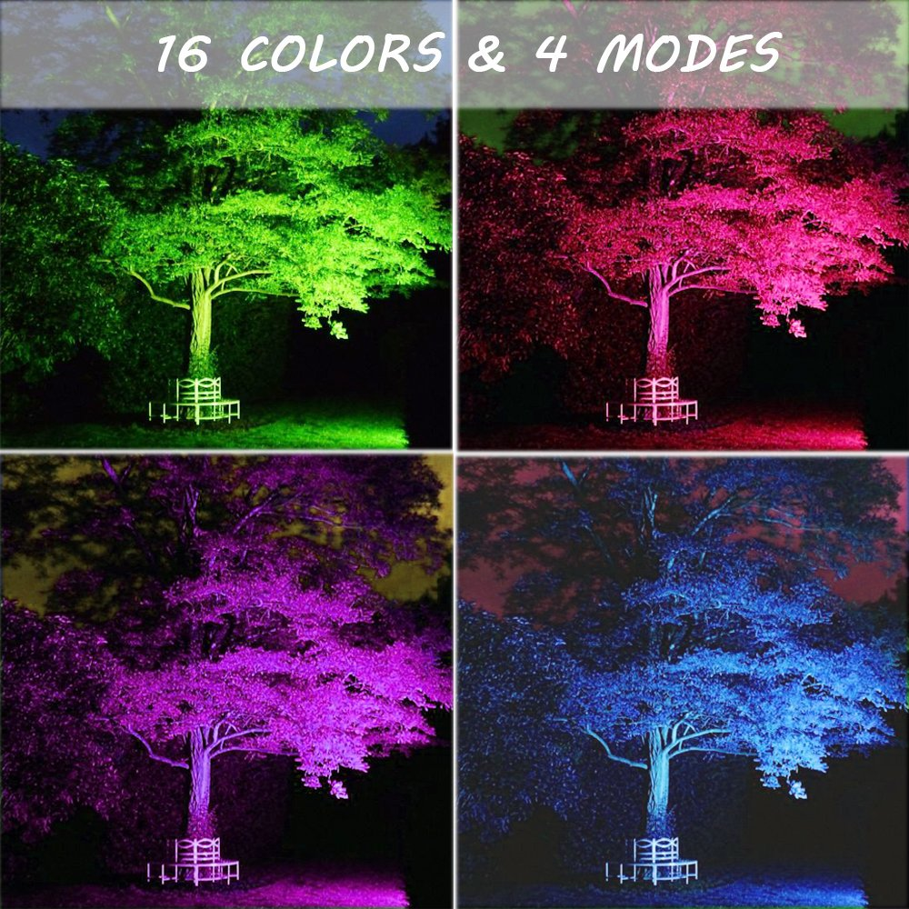 Ustellar 2 Pack 30W RGB LED Flood Lights, Outdoor Color Changing Floodlight with Remote Control, IP66 Waterproof 16 Colors 4 Modes Dimmable Wall Washer Light, Stage Lighting with US 3-Plug by Ustellar (Image #5)