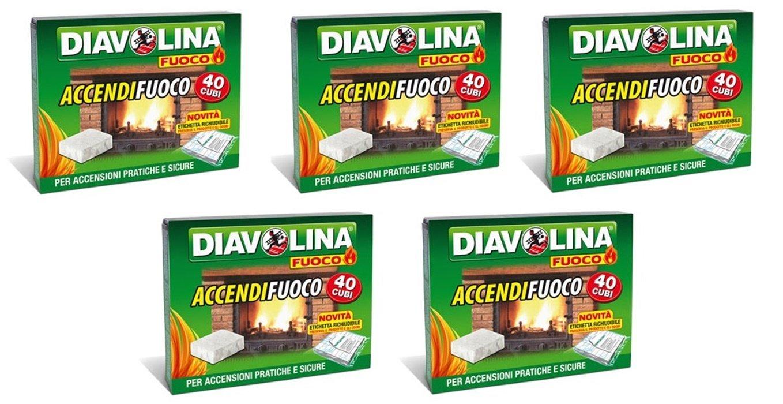 5 CONFEZIONI DA 40 CUBETTI DIAVOLINA ACCENDIFUOCO ORIGINALE STUFA BARBECUE RICELSUD.IT