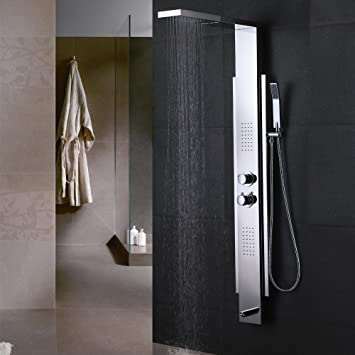 kes sus 304 stainless steel shower panel 4function rainfall shower head handheld showerhead