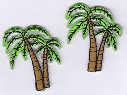 Hawaii palm trees iron on sew on embroidered badge applique motif