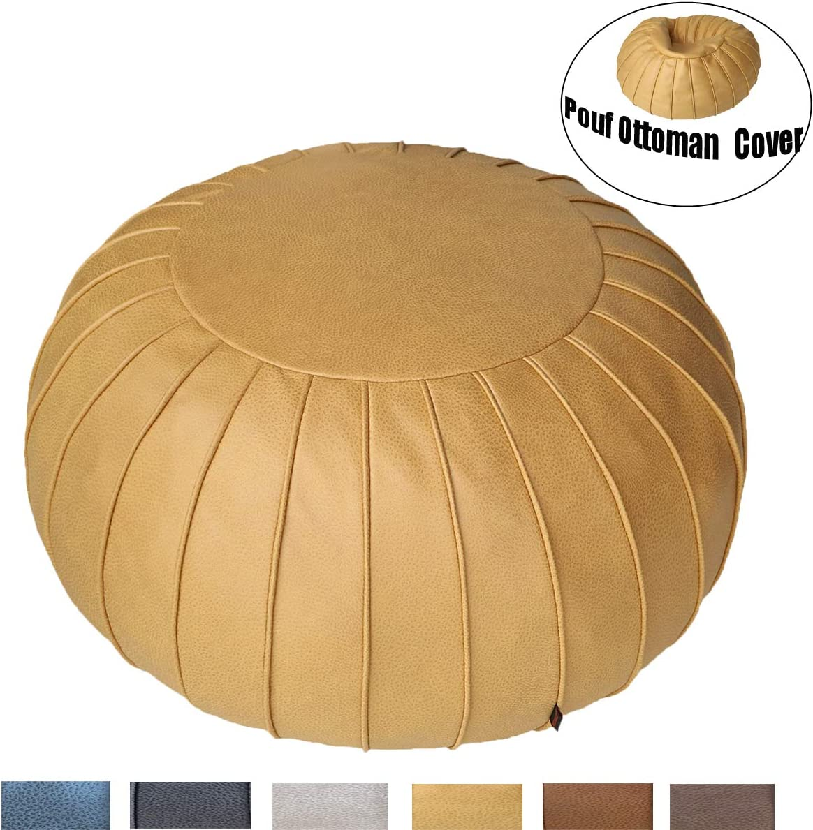 Thgonwid Unstuffed Suede Pouf Cover, Ottoman, Bean Bag Chair, Round Floor Cushion Foot Stool, Foot Rest, Storage Solution poufs for Living Room, Kids Room or Wedding (Yellow)