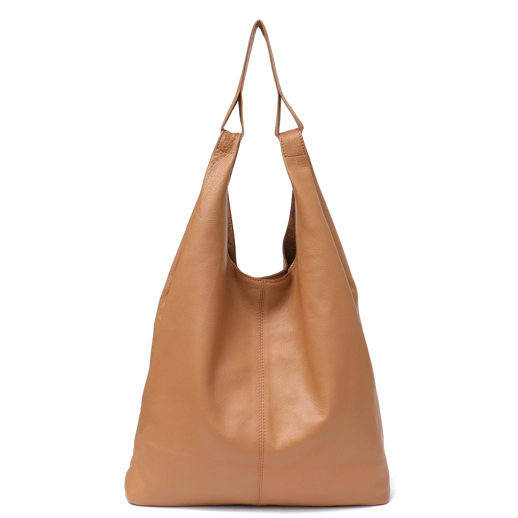 Women's Hobo Handbag STEPHIECATH Italian Genuine Leather Slouchy Shoulder Bag Large Casual Vintage Style Tote Bags (CAMEL)