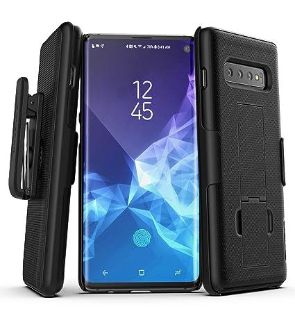 Encased Galaxy S10 Belt Clip Case (2019 DuraClip) Slim Grip Cover w/Holder  for Samsung S10 (Black)