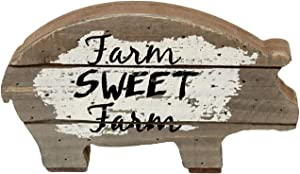 Farm Sweet Farm Wood Pig Tabletop Decor, Farmhouse Rustic Wood Pig Statue,Mini Vintage Animal Home Decor