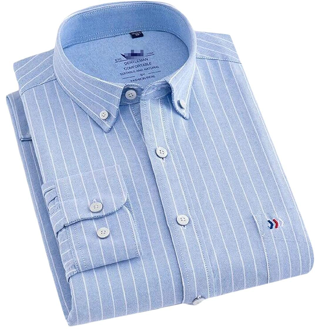 Lutratocro Men Cozy Long Sleeve Lapel Regular Fit Stripe Button Up Shirts