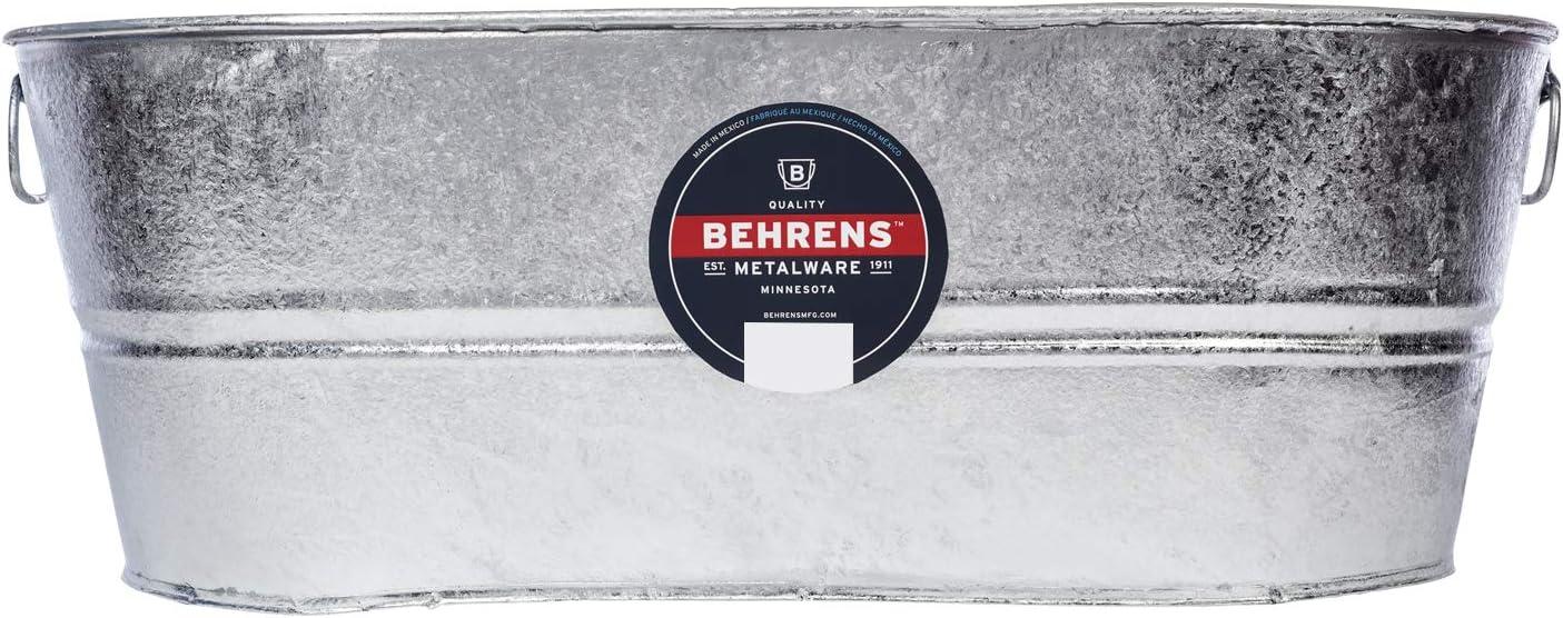 Behrens 2-OV Hot Dipped Galvanized Steel Oval PlanterTub, 10-1/2 Gallon, Silver