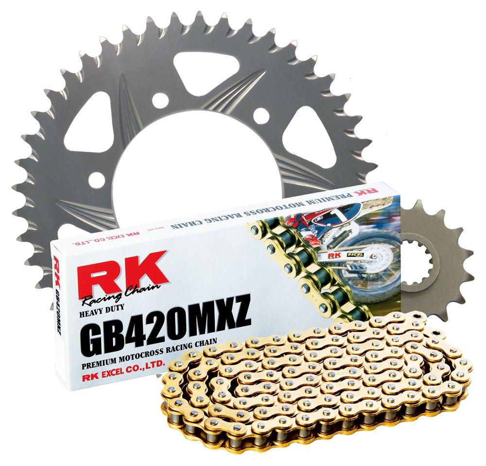 RK Racing Chain 2002-918ZG Silver Aluminum Rear Sprocket and GB420MXZ Chain Race Kit