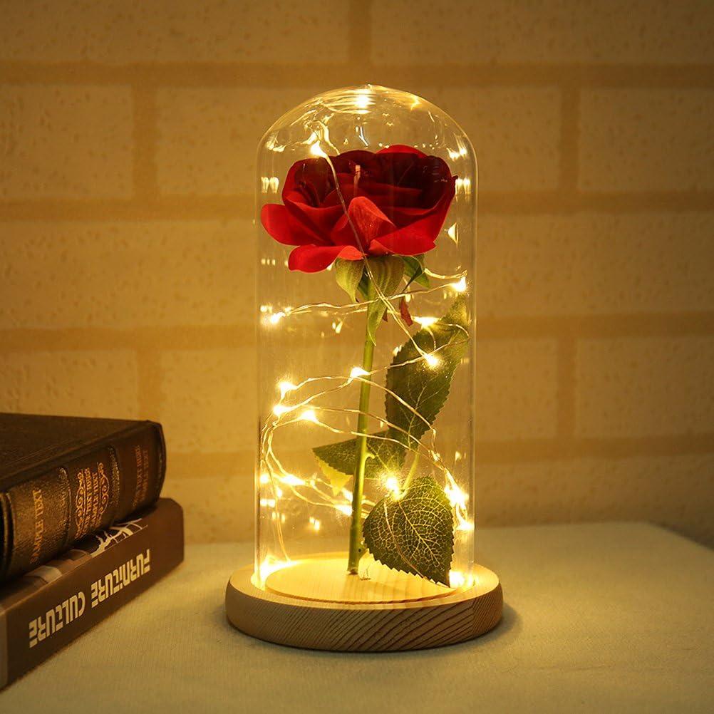 LEDMOMO Rosa de Seda con luz LED en cúpula de Vidrio en Base de Madera para el Regalo Dia de la Madre