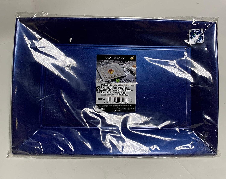 Plato rectangular Nice Gold plast de microondas azul perlado 345 x ...