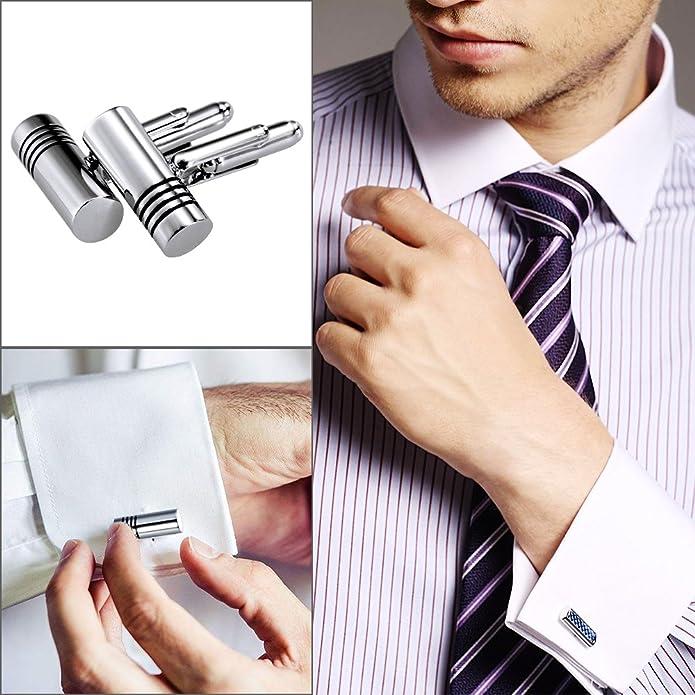 Lictin - 5 pares de gemelos para hombre, para camisa, movimiento de reloj, acero inoxidable, para boda, negocios, comerciales