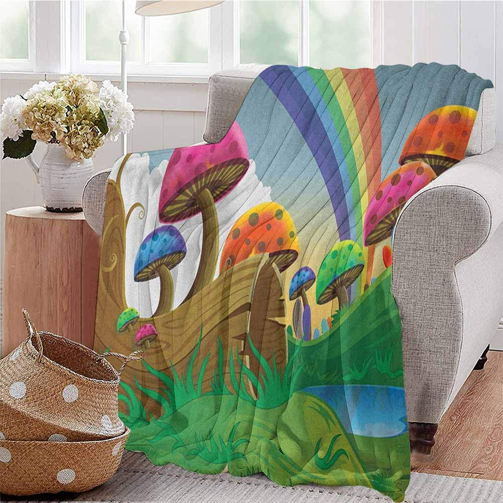 Luoiaax Mushroom Children's Blanket Countryside Sunny Playful Environment Foliage Rainbow Spring Scenery Kids Room Lightweight Soft Warm and Comfortable W91 x L60 Inch Multicolor by Luoiaax