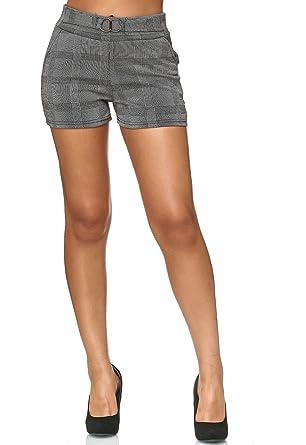 4cb2e91b89bdb3 Damen Shorts Kariert Kurze Sommer Hose Hahnentritt Muster D2422: Amazon.de:  Bekleidung