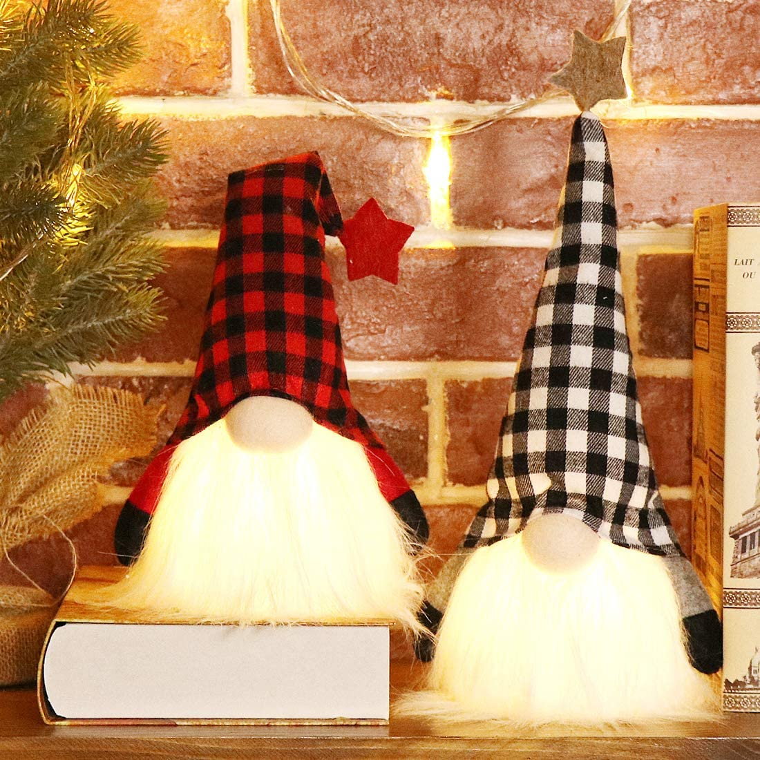 EDLDECCO Christmas Gnome with Light Timer 12 Inches Set of 2 Plaid Buffalo Check Nisse Figurine Plush Swedish Nordic Tomte Scandinavian Elf X'Mas Holiday Party Home Decor Ornaments (Red & Black)