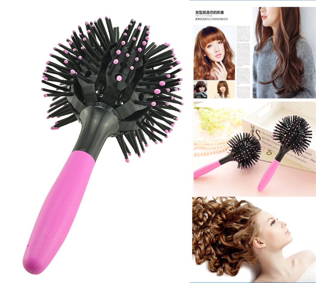 Vinmax 3d Bomb Curl Brush Styling Salon Round Hair Curling Curler Comb Tool,Pink